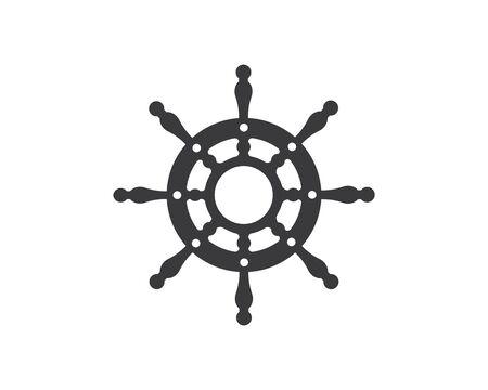 steering ship vector logo icon of nautical maritime design Illusztráció