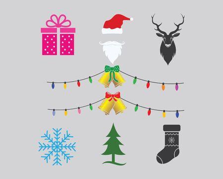 christmas icon set decoration vector illustration design