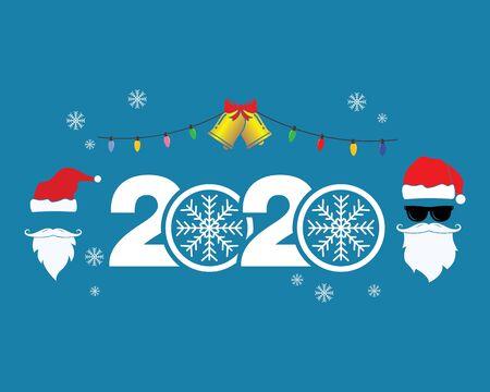 2020 new year and christmas icon set decoration vector illustration design Illustration