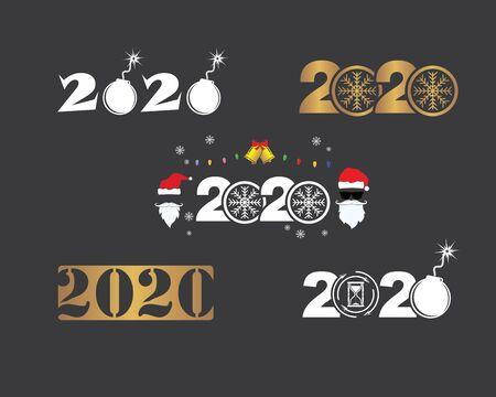 2020 new year icon vector illustration design