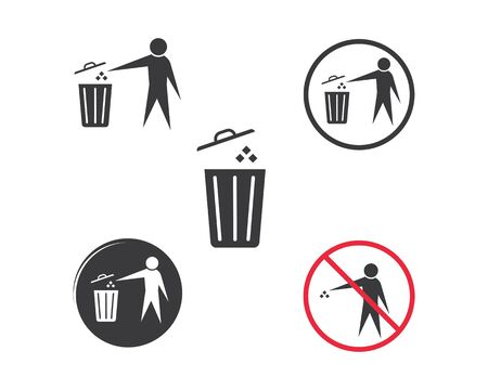 trash can icon lgo vector illustration design template