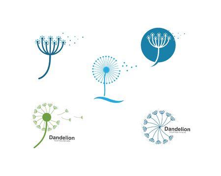 dandelion flower logo icon vector illustration