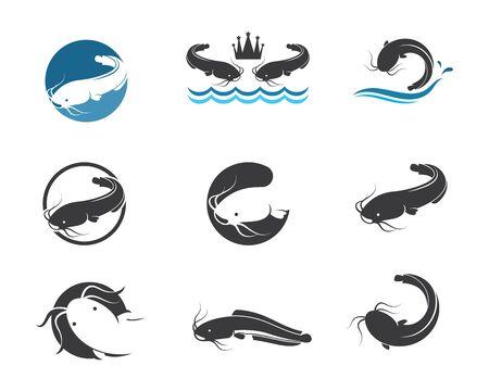 modèle de conception d'illustration d'icône de vecteur de poisson-chat Vecteurs