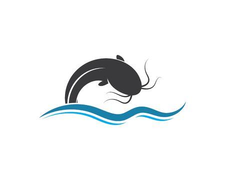 modèle de conception d'illustration d'icône de vecteur de poisson-chat