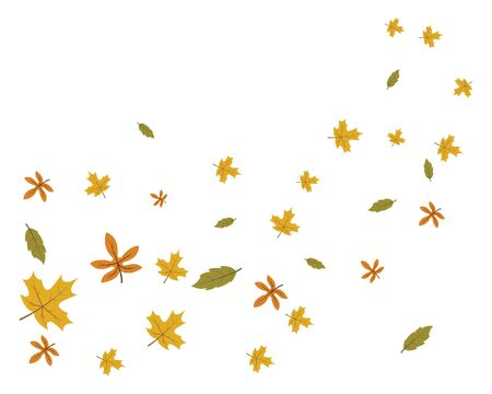 fallen leaves and bowing  wind vector illustration design template