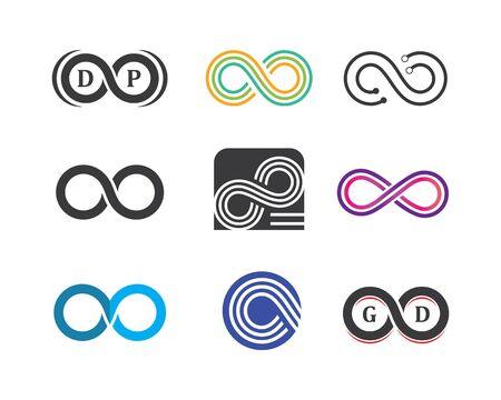 Modello di progettazione dell'illustrazione di vettore dell'icona del logo dell'infinito
