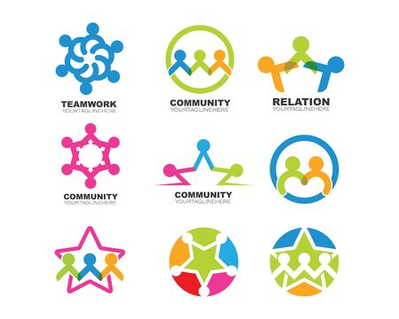 Modèle de conception d'icône communautaire, réseau et sociale
