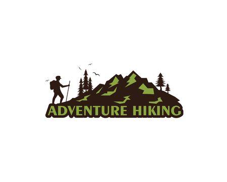 adventure hiking vector icon illustration design template