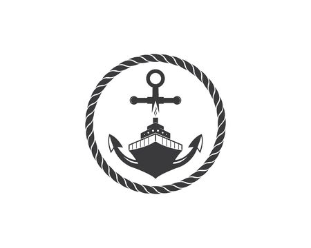 nautical vector logo icon of maritime illustration design Ilustração