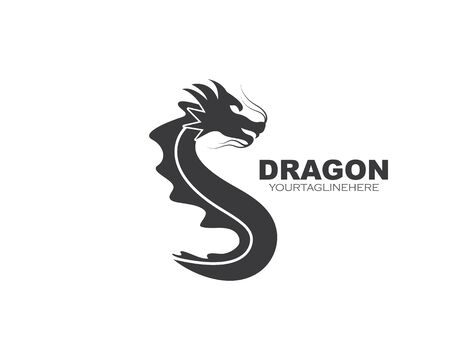 Dragon logo icon template vector illustration
