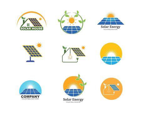 solar panel logo vector icon of natural energy design Logo