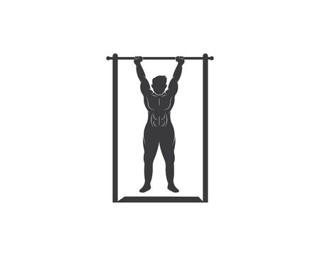 pull up exercise vector icon illustration design template 일러스트