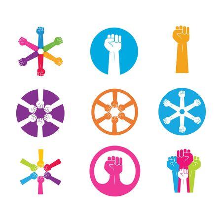 Hand up clenched vector icon illustration design template Standard-Bild - 139596810