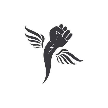 strong hand clenched with wings vector illudstration design