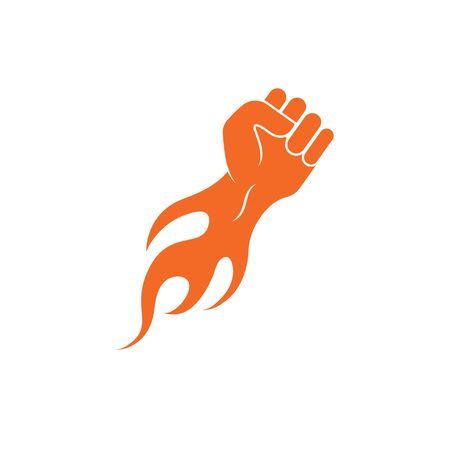 strong hand with hot fire vector illustration design Çizim