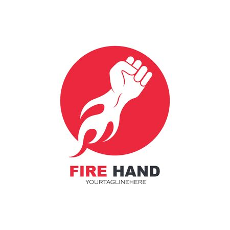 strong hand with hot fire vector illustration design