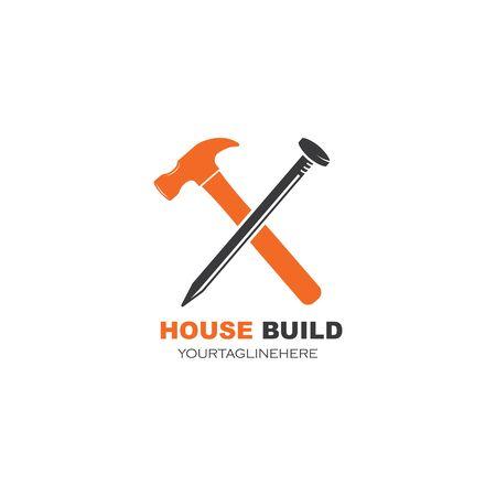 house build and renovation logo icon vector illustration design Vettoriali