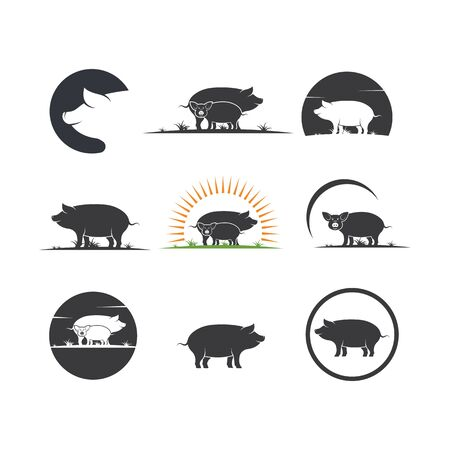pig vector icon illustration design template