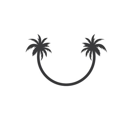 Palm tree icon of summer and travel logo vector illustration design