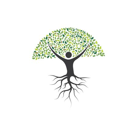 people Tree icon logo template vector design 일러스트