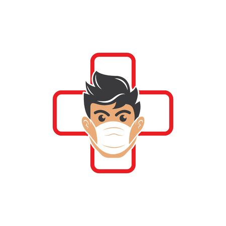 face man using pollution mask vector illustration
