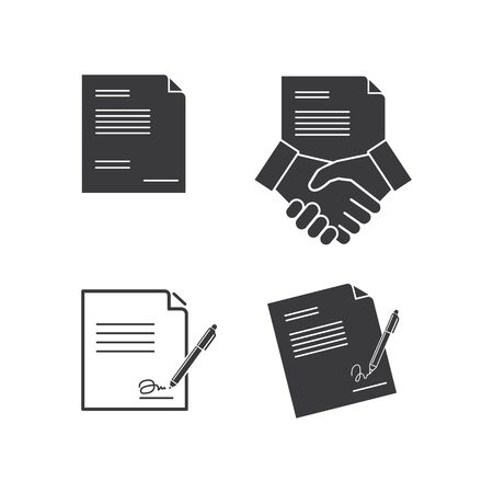 paper  document with pen and handshake  vector illustration design template Stockfoto - 142078858