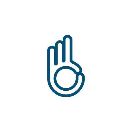 ok hand gesture icon vector illustration design template