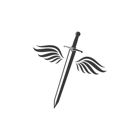 sword with wings logo icon vector illustration design template