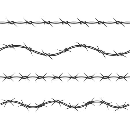 modèle de conception d'illustration vectorielle de fil de fer barbelé