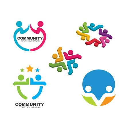 Community, network and social people icon design template