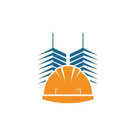 construction helmet vector illustration design template