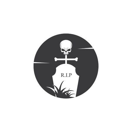 gravestone vector illustration design template 写真素材 - 143430349