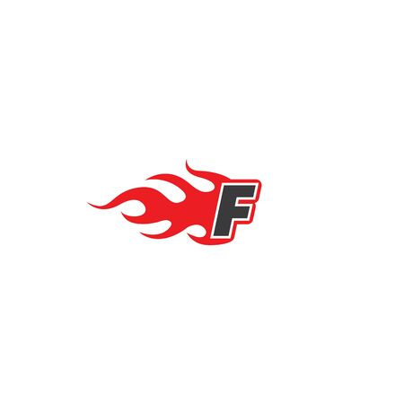 f letter with fire vector icon design concept