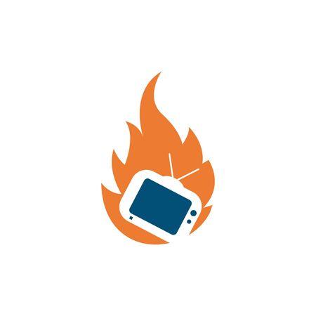 television fire icon logo vector illustration design