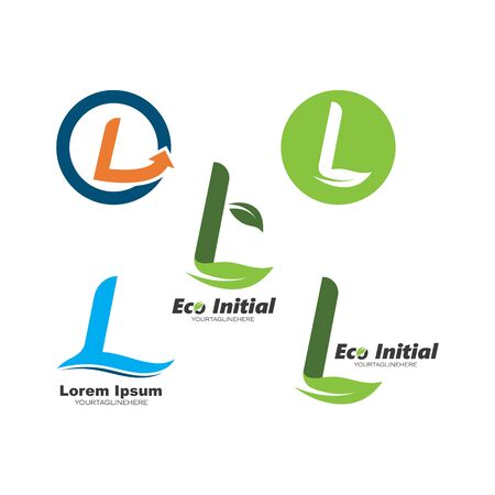 l letter eco leave  logo business vector template
