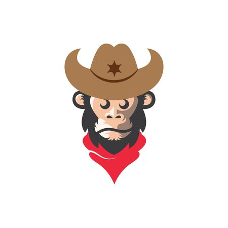monkey cowboy concept vector logo icon illustration design template