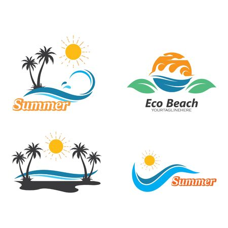 palm tree summer  logo icon vector illustration design Illustration