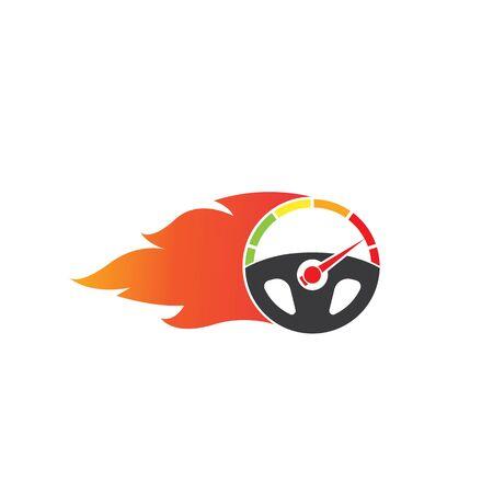 car steering wheel burning fire logo icon vector illustration design