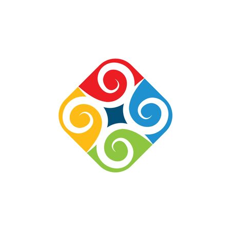 vortex wind  logo icon wave and spiral vector template Иллюстрация