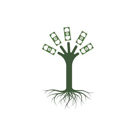money tree logo icon vector illustration design