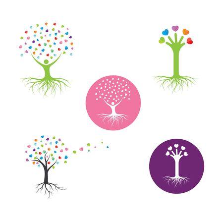 love heart  tree concept vector illustration design template