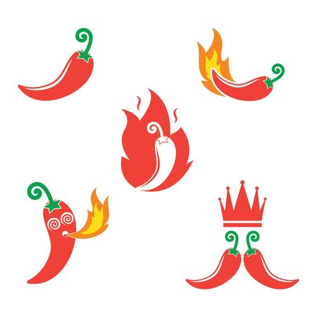 Chili logo icon vector illustration design template 일러스트