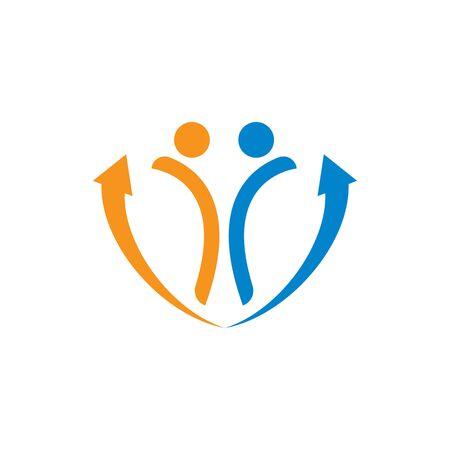 Arrow people icon vector illustration Logo Template design