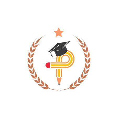 pencil with diploma hat vector illustration icon and logo of education design