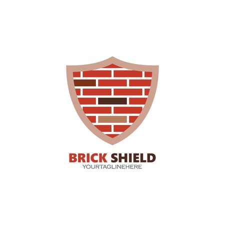 wall brick defense  concept logo vector illustration design