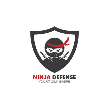 ninja defense  logo template vector illustration design