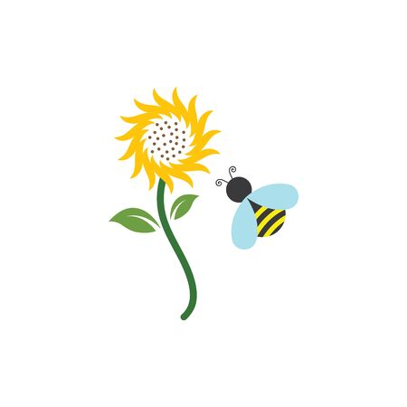 Sunflower with bee logo icon vector illustration