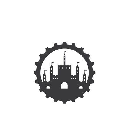 castle icon vector illustration design template  イラスト・ベクター素材