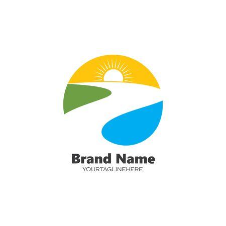 sun river logo icon vector illustration design  イラスト・ベクター素材