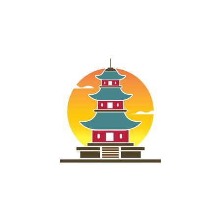 pagoda building icon vector illustration design